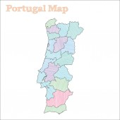 Portugal handdrawn map Colourful sketchy country outline Amazing Portugal map with provinces