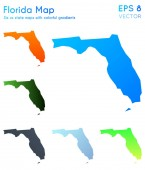 Map of Florida with beautiful gradients Beauteous set of Florida maps Adorable vector