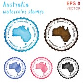 Australia stamp Watercolor country stamp with map Vector illustration