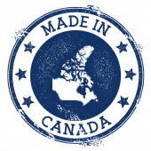 Made in Canada stamp Grunge rubber stamp with Made in Canada text and country map Fine vector