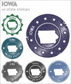 Iowa stamps collection Rubber stamps with us state map silhouette Vector set of Iowa logo