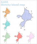 Sark sketchy island Lively hand drawn island Magnificent childish style Sark vector illustration