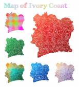 Handdrawn map of Ivory Coast Colorful country shape Sketchy Ivory Coast maps collection Vector