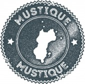 Mustique map vintage stamp Retro style handmade label badge or element for travel souvenirs Dark