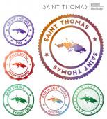 Saint Thomas badge Colorful polygonal island symbol Multicolored geometric Saint Thomas logos set