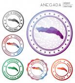 Anegada badge Colorful polygonal island symbol Multicolored geometric Anegada logos set Vector