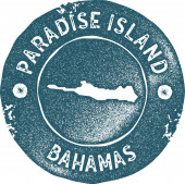Paradise Island map vintage stamp Retro style handmade label badge or element for travel