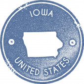 Iowa map vintage stamp Retro style handmade label badge or element for travel souvenirs Light