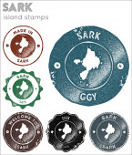 Sark stamps collection Rubber stamps with island map silhouette Vector set of Sark logo