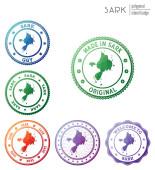 Sark badge Colorful polygonal island symbol Multicolored geometric Sark logos set Vector