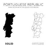 Portugal map Blank vector map of the Country with regions Borders of Portugal for your