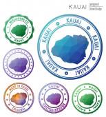 Kauai badge Colorful polygonal island symbol Multicolored geometric Kauai logos set Vector