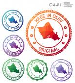 Oahu badge Colorful polygonal island symbol Multicolored geometric Oahu logos set Vector