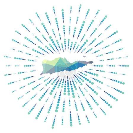 Illustration pour Forme de Sainte Croix, coup de soleil polygonal. Carte de l'île avec des rayons étoilés colorés. Illustration Sainte Croix en numérique, technologie, internet, style réseau. Illustration vectorielle . - image libre de droit