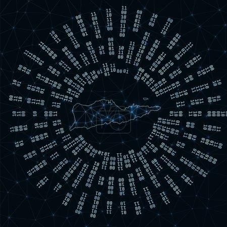 Illustration pour Carte numérique de Sainte Croix. Rayons binaires rayonnant autour d'une île rayonnante. Connexions Internet et conception d'échange de données. Illusion vectorielle . - image libre de droit