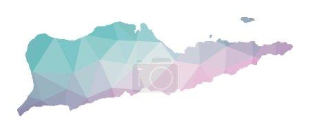Illustration pour Carte polygonale de Sainte Croix. Illustration géométrique de l'île en améthyste émeraude. Carte Sainte Croix en style poly bas. Technologie, internet, concept de réseau. Illustration vectorielle . - image libre de droit