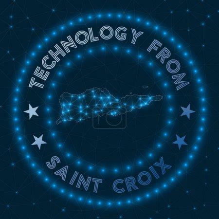 Illustration pour Technologie de Sainte Croix. Badge géométrique futuriste de l'île. Concept technologique. Logo rond Sainte Croix. Illustration vectorielle. - image libre de droit