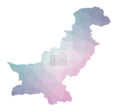 Illustration for Polygonal map of Pakistan. Geometric illustration of the country in emerald amethyst colors. Pakistan map in low poly style. Technology, internet, network concept. Vector illustration. - Royalty Free Image