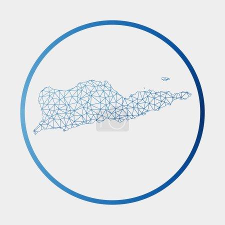 Illustration pour Icône Sainte Croix. Carte réseau de l'île. Signe rond Sainte Croix avec anneau de dégradé. Technologie, internet, réseau, concept de télécommunication. Illustration vectorielle. - image libre de droit