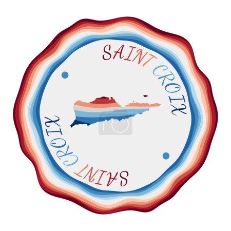 Illustration pour Badge Sainte Croix. Carte de l'île avec de belles vagues géométriques et un cadre bleu rouge vif. Logo Saint Croix rond vif. Illustration vectorielle. - image libre de droit