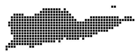 Illustration pour Sainte Croix carte. Carte de Sainte Croix en pointillés. Frontières de l'île remplies de rectangles pour votre design. Illustration vectorielle. - image libre de droit