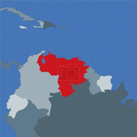 Illustration pour Forme du Venezuela dans le contexte des pays voisins. Pays surligné de couleur rouge sur la carte du monde. Modèle de carte Venezuela. Illustration vectorielle. - image libre de droit