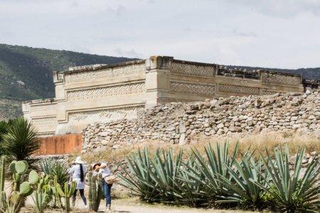 Oaxaca, Oaxaca / Mexico - 21/7/2018: Detail of the ruins of prehispanic Mitla in Oaxaca Mexico