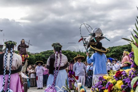 Oaxaca, Oaxaca / Mexico - 21/7/2018: (Indigenous people celebrating the traditional Guelaguetza in Oaxaca Mexico)