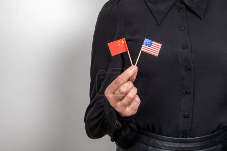 Photo pour United States and chinese flag. Economic and political relations. Import export and trade war. - image libre de droit
