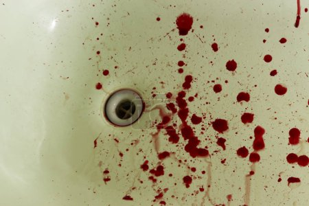 Kitchen sink with blood for halloween close up