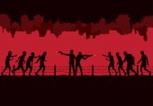 Silhouette of two man stand and fighting crowd zombie front of ruined city destroyed buildings background
