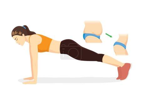 Illustration pour Femme réduire la graisse du ventre à mince en faisant de l'exercice Full Plank sur tapis bleu. Illustration sur slim up avec le travail . - image libre de droit