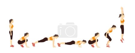 Woman doing a Burpee with Push Up step for exercis...