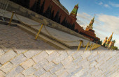 Spasskaya tower and the Kremlin walls in the reflection of the phone   Photo taken during the day in September 2019, mobile, reflection, sky