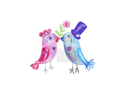 Photo for Hand drawing watercolor pencils boy and girl birds give flowers on Valentine's Day and love each other - Royalty Free Image