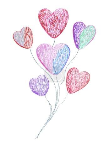 Photo pour Dessin à la main crayons aquarelle différents types de cœurs dans différentes combinaisons en l'honneur de la Saint-Valentin - image libre de droit