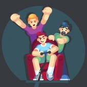 cartoon young people play video games sitting on the couch sofa Gamepad in hands Friends playing video games Vector illustration Flat design style