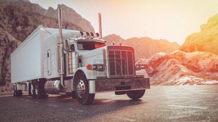 Photo pour Un camion blanc circulant dans la rue le matin. 3d rendu et illustration . - image libre de droit