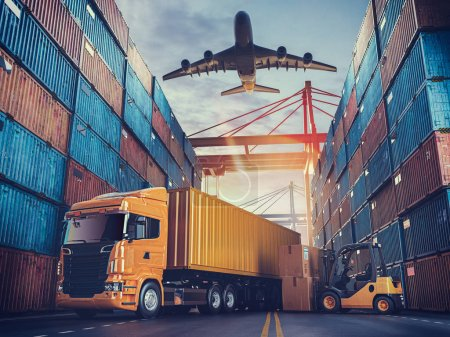 Photo for Transportation and logistics of Container Cargo ship and Cargo plane. 3d rendering and illustration. - Royalty Free Image