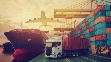 Photo pour Transport et logistique de conteneurs cargo et avion cargo. 3d rendu et illustration . - image libre de droit