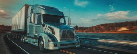 Photo pour Camion sur la route. 3d rendu et illustration . - image libre de droit