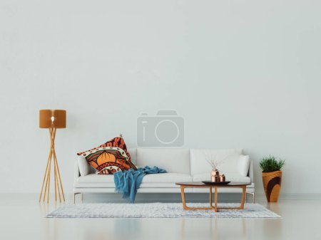 Photo for White living room, sofa, coffee table, vase and lamp. - Royalty Free Image