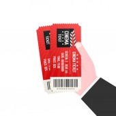 Hand holding two tickets Cinema tickets Vector illustration