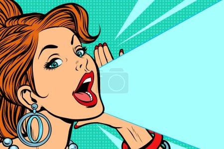 Illustration pour Lady annonce et promeut. Pop art rétro vectoriel illustration bande dessinée kitsch vintage dessin - image libre de droit