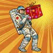 Astronaut birthday with a gift. Pop art retro vect...