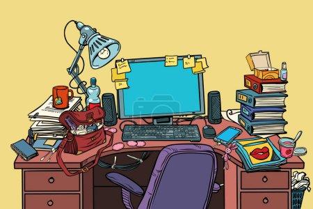Illustration pour Lieu de travail féminin avec ordinateur. Pop art rétro vectoriel illustration vintage kitsch - image libre de droit