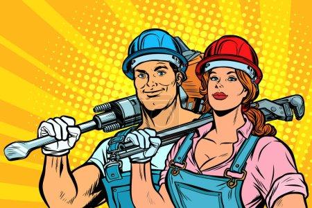Illustration pour Travailleurs forts, homme et femme. jour de travail. égalité. Pop art rétro vectoriel illustration vintage kitsch - image libre de droit
