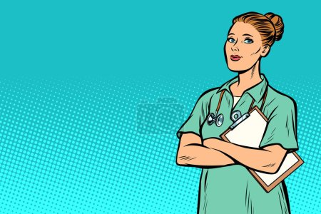 Illustration for Nurse. Medicine and health. Pop art retro vector illustration vintage kitsch - Royalty Free Image