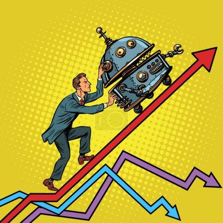 Illustration pour Robotisation et concept de révolution technique. Un homme d'affaires pousse le robot. Graphiques de croissance. Pop art rétro vectoriel illustration vintage kitsch - image libre de droit