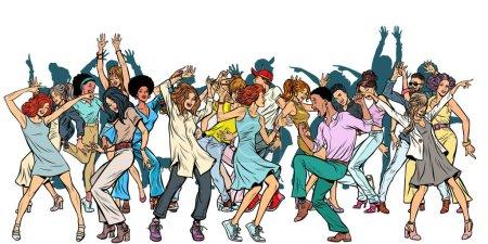 Illustration pour Groupe de jeunes danseurs, isoler sur un fond blanc. Pop art rétro vectoriel illustration vintage kitsch - image libre de droit